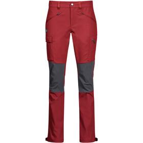 Bergans Nordmarka Hybrid Pantalones Mujer, rojo/gris